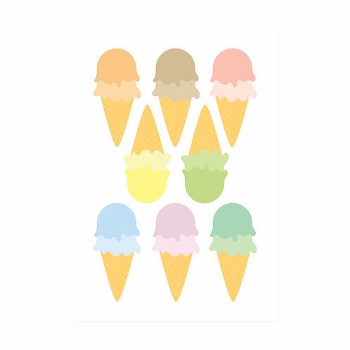 Adesivos de parede Sorvetes Candy Colors