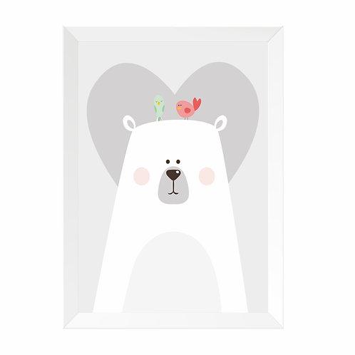 Quadro Urso Moldura Branca e Pinus A4