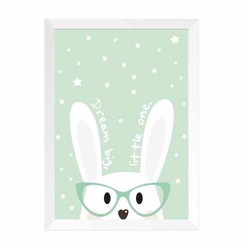 Quadro Coelho Óculos Moldura Branca e PinusA4