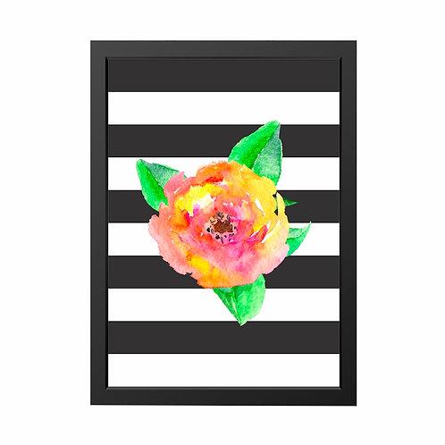 Quadro Flor Aquarela Moldura Branca e preta A4