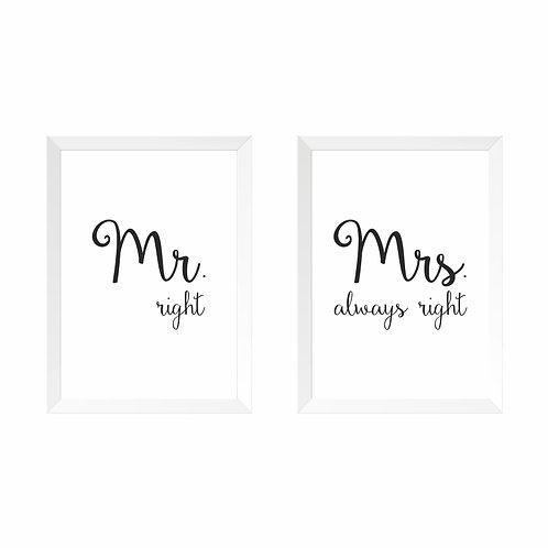 Conjunto de Quadros Mr. e Mrs. Right Moldura Branca ou PretaA3