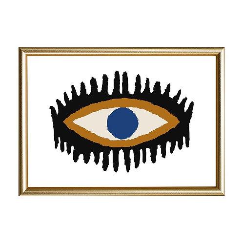 Quadro Olho Chic Moldura Dourada e PretaA4 - Wall Done