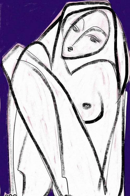 Mulher em Fundo Cobalto