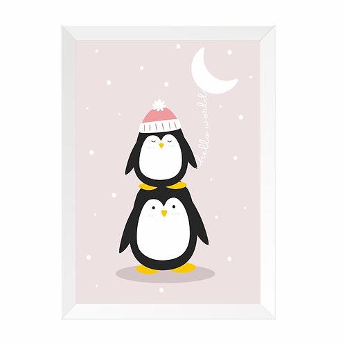 Quadro Pinguim Moldura Branca e Panda A4