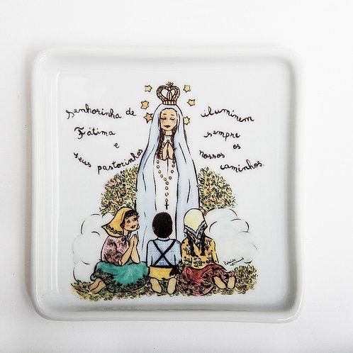 Prato Quadrado Pequeno Nossa Senhora de Fátima   Santeiro