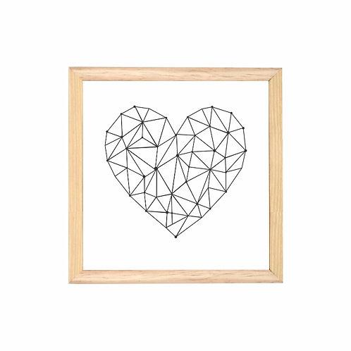Quadro Coração Aramado Moldura Branca