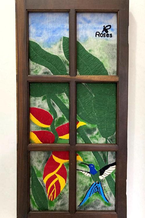 Janeladro - Quadro bordado beija-flor