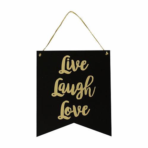 Flâmula Acrílico Live Laugh Love Branco