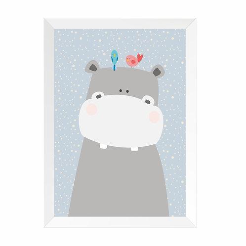 Quadro Hipopótamo Moldura Branca e Pinus A4