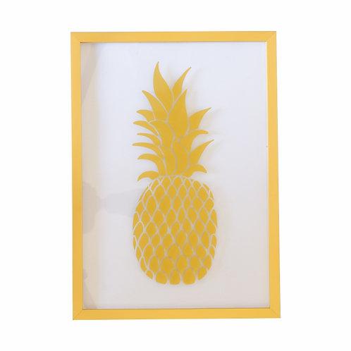 Quadro Abacaxi Vidro com Moldura Dourada A4