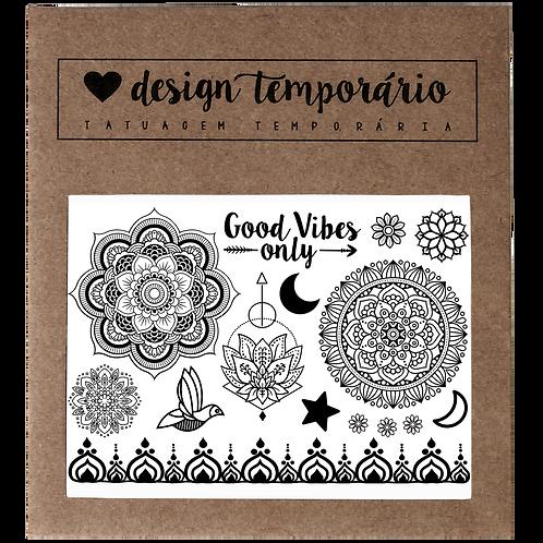 Tatuagem Temporária Cartela Good Vibes