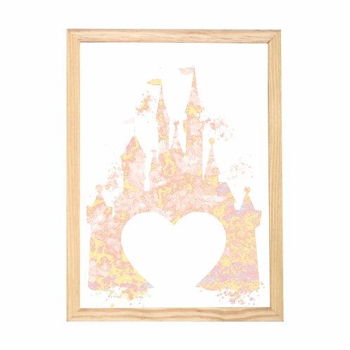 Quadro Castelo Aquarela Coração Moldura Branca e Pinus A4 - Wall Done