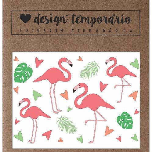Cartela Tatuagem temporária Flamingo - Design Temporário