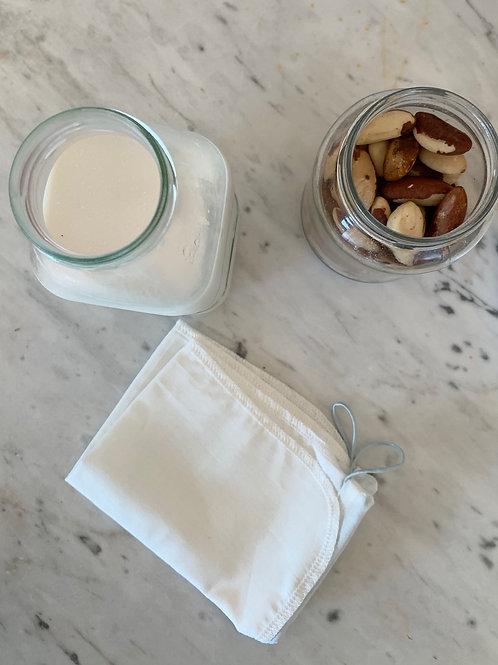 Coador de leite vegetal em algodão orgânico