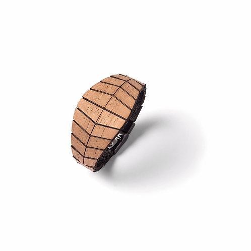 Pulseira Brielle, madeira e couro