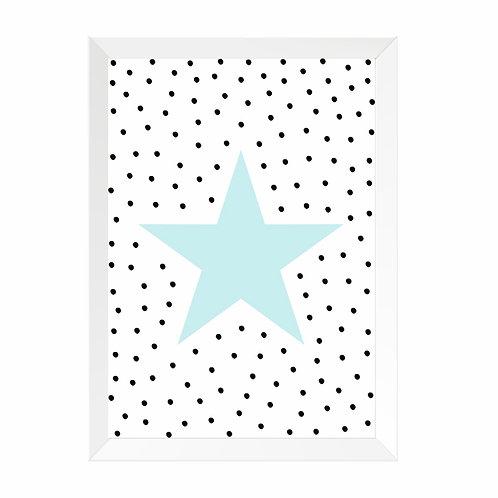 Quadro Estrela Bolinhas Moldura Branca e PinusA4