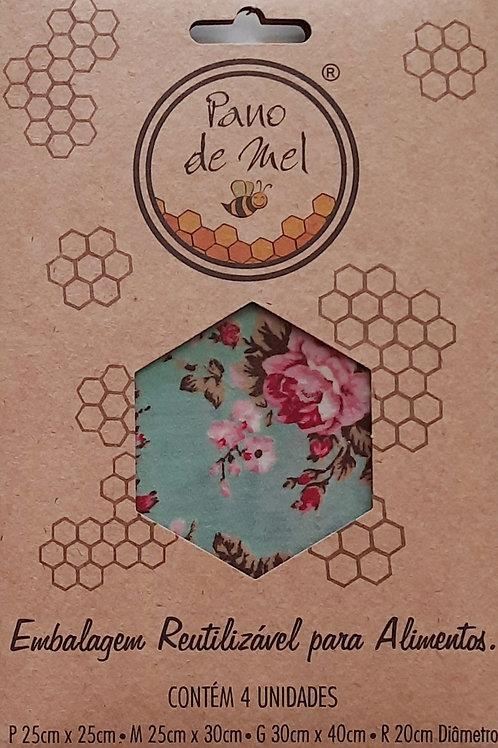 Kit Pano de Mel 4 unid Floral Azul