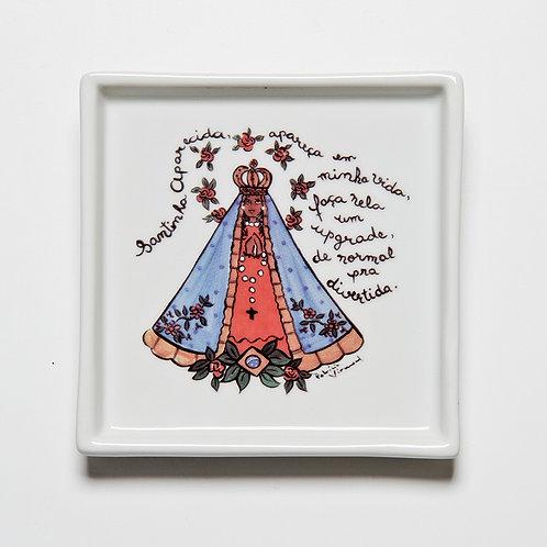 Prato Quadrado Pequeno Nossa Senhora Aparecida | Santeiro - Atelier Patricia Vir