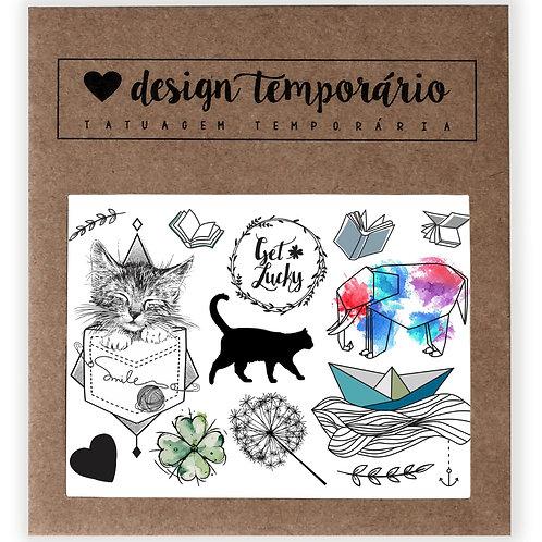 Cartela Tatuagem temporária Sorte - Design Temporário