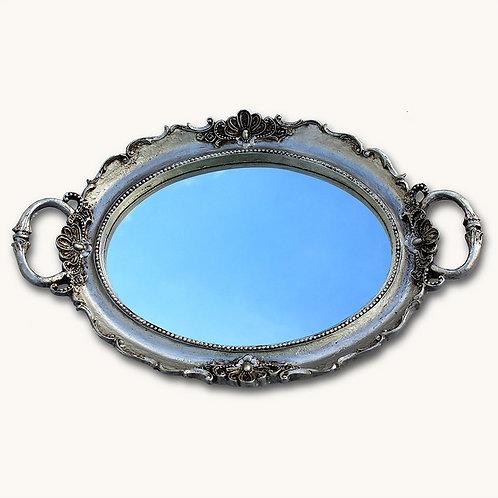 618 - Bandeja oval com espelho prateado