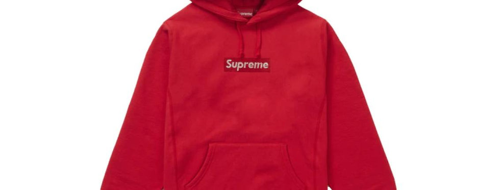 Supreme Swarovski Box Logo Hooded Sweatshirt Red