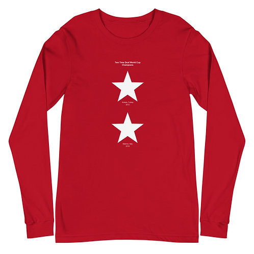 Two Stars - Deaf World Cup - Unisex Long Sleeve Tee