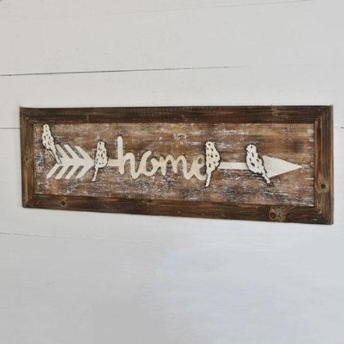 Wood Home Arrow Sign with Birds
