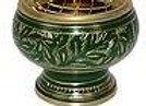 Brûle encens incrustations or/vert -