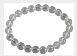 Bracelet Perles Rondes Cristal de Roche - 8 mm