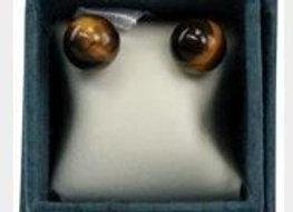 Boucles d'oreilles perle d'oeil de tigre - 6 mm