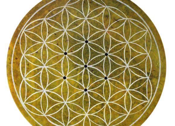 Porte encens Fleur de vie jaune 10 cm de diamètre