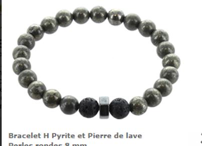 Bracelet Pyrite et pierres de lave