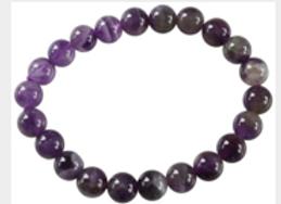 Bracelet Perles Rondes Améthyste - 8 mm