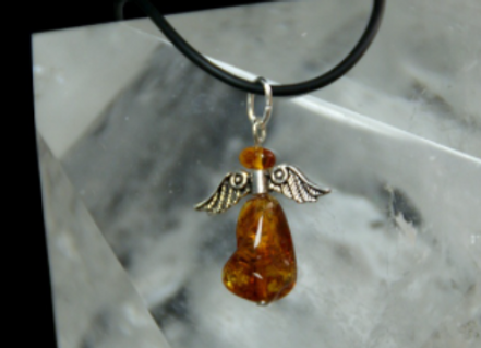 pendentif ange ambre et argent