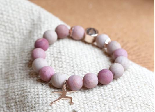 Bracelet Rhodocrosite perles rondes 10 mm Breloque Yoga