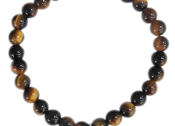 Bracelet Oeil de tigre perles rondes 6 mm Breloque trèfle