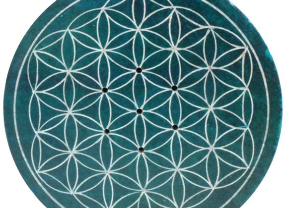 Porte encens Fleur de vie Bleu diamètre 10 cm