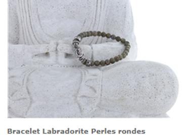 Bracelet labradorite et perle de Bouddha en 6 mm