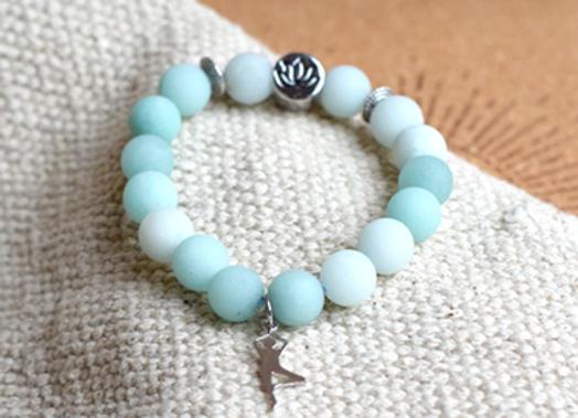 Bracelet Amazonite perles rondes 10 mm Breloque Yoga Arbre