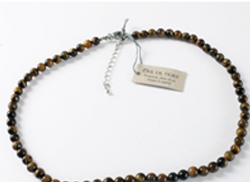 Collier oeil de tigre perles de 8 mm