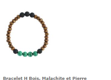 Bracelet malachite et pierres de lave et perles bois