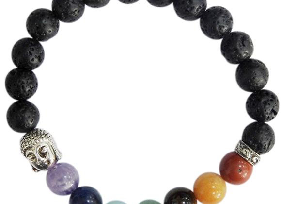 Bracelet 7 Chakras et pierres de laves