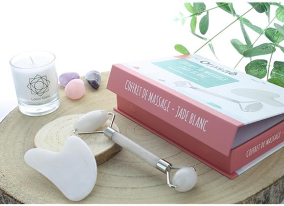 Coffret massage Lithothérapie pour le visage en jade blanc