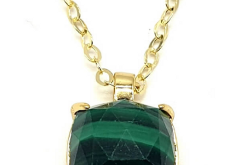 Collier Argent 925 en Malachite