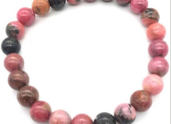 Bracelet en rhodonite perles de 8 mm