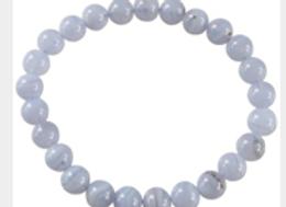 Bracelet Perles Rondes Calcédoine Bleue - 8 mm