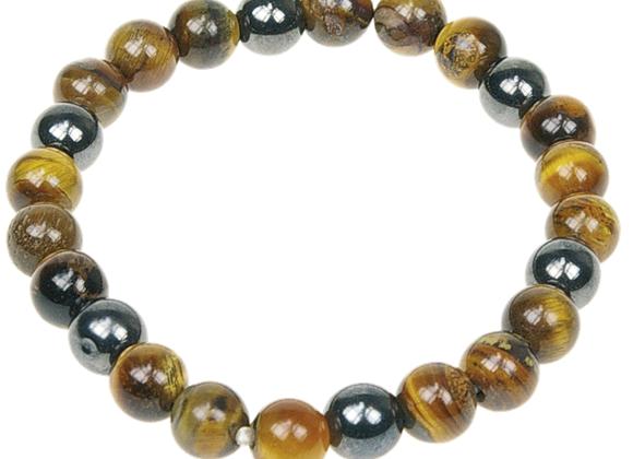 Bracelet oeil de tigre et hématite perles de 8 mm