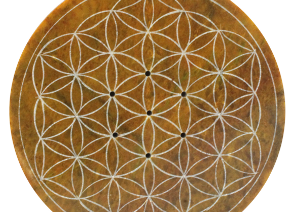 Porte encens Fleur de vie V10ert Anis 10 cm de diamètre