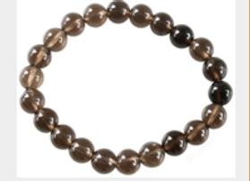 Bracelet Perles Rondes Quartz fumé - 8 mm