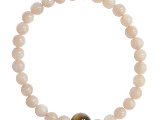 Bracelet pierre de lune en 6 mm et sa perle oeil de tigre